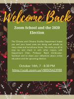 Welcome Back Poster with content and Zoom link