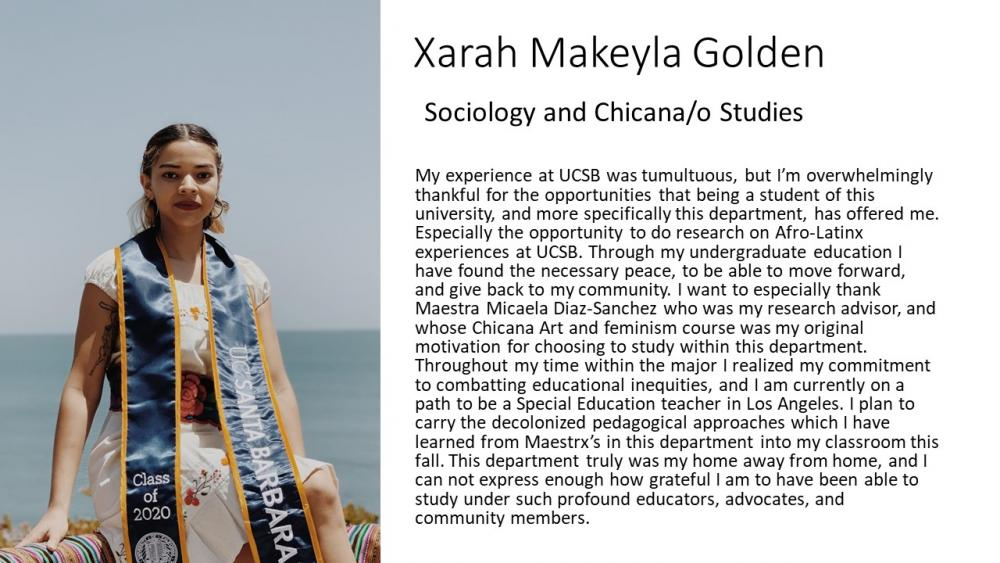 Xarah Makeyla Golden, Sociology and Chicana/o Studies