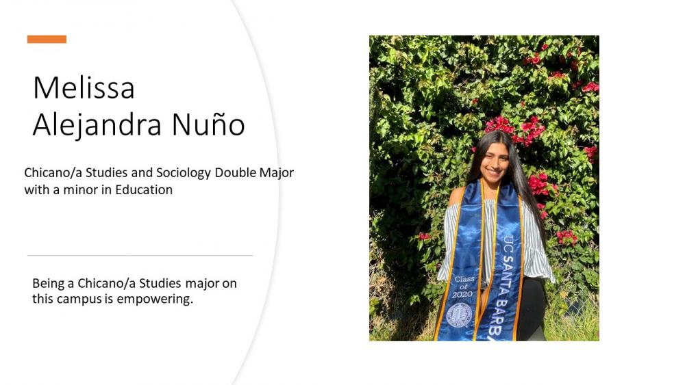 Melissa Alejandra Nuño, Chicana/o Studies and Sociology Double Major with a Minor in Education