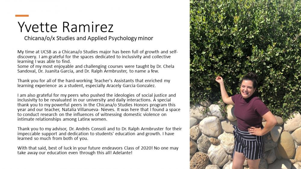 Yvette Ramirez, Chicana/o/x Studies Major, Applied Psychology minor