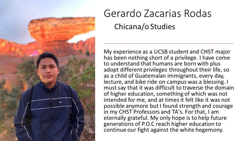 Gerardo Zacarias Rodas, Chicana/o Studies