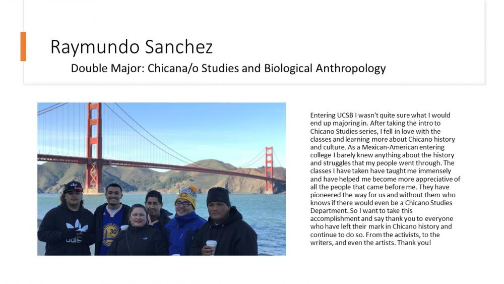 Raymundo Sanchez, Chicana/o Studies and Biological Anthropology Double Major