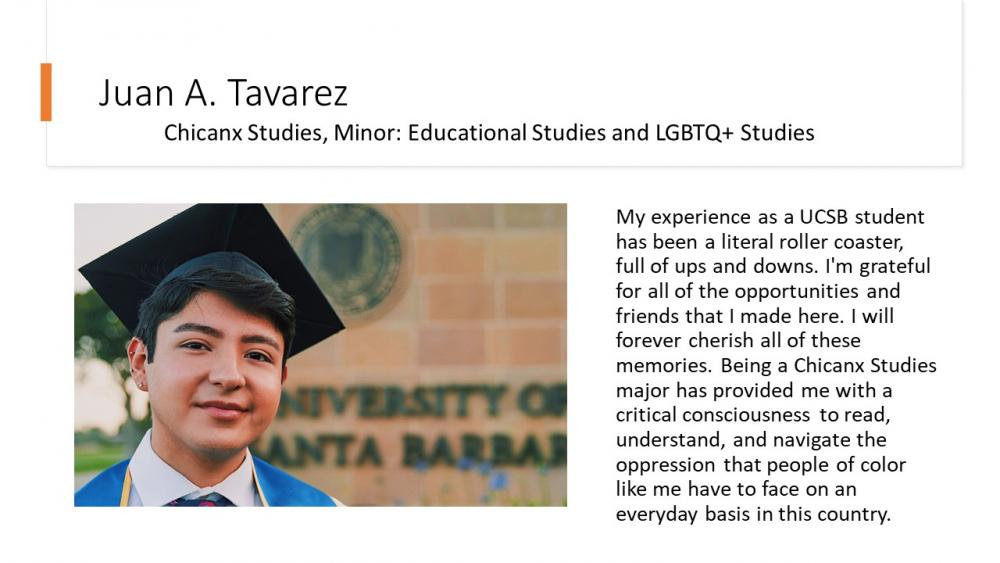 Juan A. Tavarez, Chicanx Studies, Minor; Educational Studies and LGBTQ+ Studies Double Major